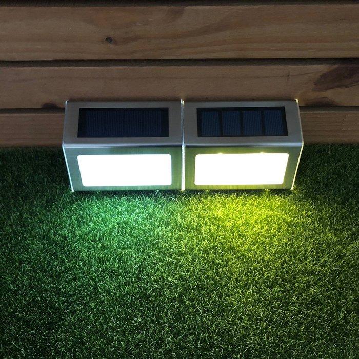 ☀傑太光能☀ 高質感 2LED太陽能燈不銹鋼 樓梯燈 圍牆燈 庭院燈 籬笆 地燈 L-02面向陽光