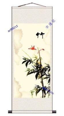 【幸運星】40*120cm 風水畫 竹子 圖 節節高昇 開運  絲綢畫 卷軸畫 國畫 GH 辦公室客廳  A145
