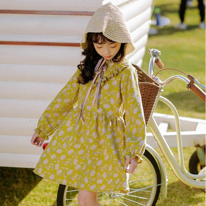 •*~ 辣媽咪衣飾小舖 ~*•❤童裝系列❤X960241韓版大童唯美花邊V領碎花公主款洋裝