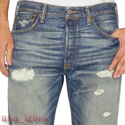 【當季破壞加工29-44腰優惠】美國Levi s 501 Ripped 仿舊復古藍刷黃直筒褲丹寧褲牛仔褲501XX