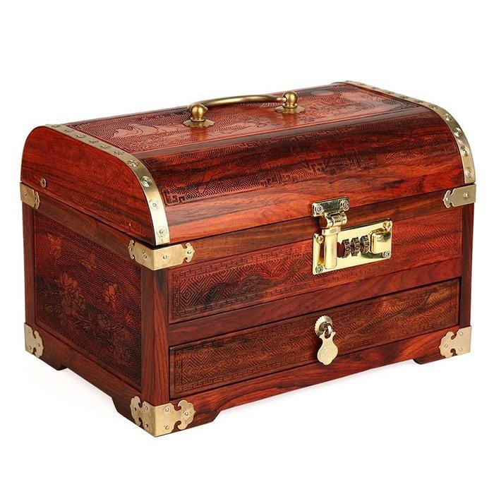 紅木密碼鎖首飾盒 大紅酸枝木質中式仿古收納盒子 實木百寶箱帶鎖