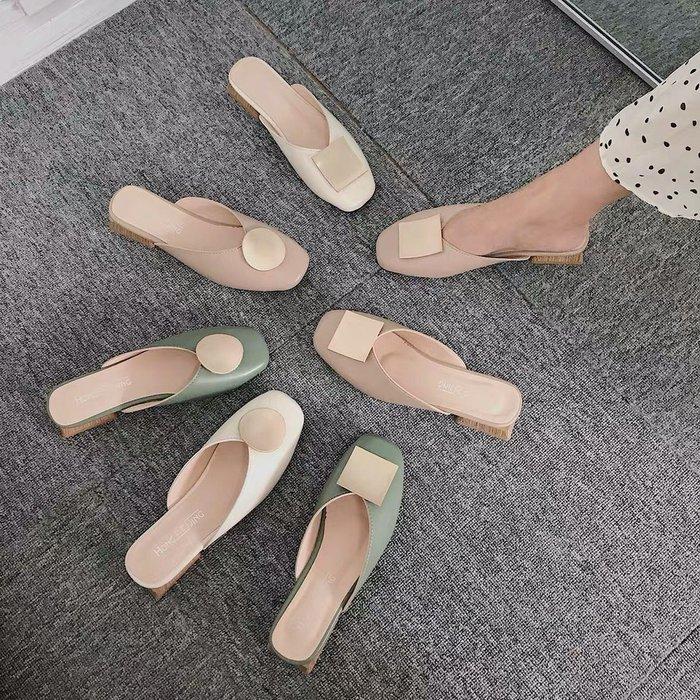 正韓女鞋包頭半拖鞋女低跟方頭  網紅凉拖鞋女新款時尚外穿