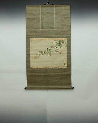 日本古字畫˙˙楓葉小雀圖
