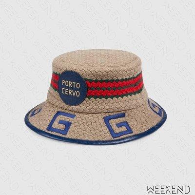 【WEEKEND】 GUCCI Porto Cervo 異材質拼接 編織 皮革滾邊 漁夫帽 629599 藍色 男女同款