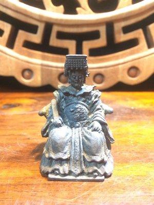 【小川堂】早期 老件古董 精緻實心 老銅雕 銅雕 坐龍椅 媽祖 天上聖母 佛像 高4.5cm