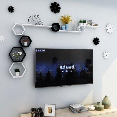 ins熱銷-墻上置物架客廳電視背景墻面隔板影視墻壁掛裝飾墻柜房間創意格子#置物架#創意#墻壁置物架#裝飾
