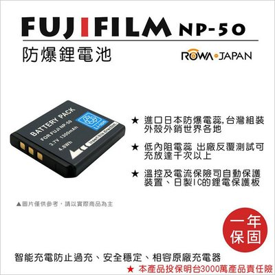 趴兔@樂華 FOR Fuji NP-50 相機電池 鋰電池 防爆 原廠充電器可充 保固一年