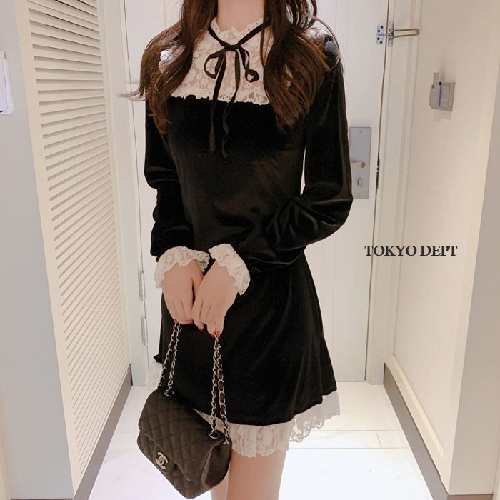 TOKYO DEPT【F8375】韓氣質蕾絲.平口洋裝小洋裝小禮服洋裝韓雪紡洋裝露肩伴娘連身裙禮服絲