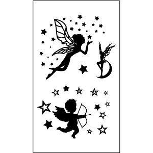 【萌古屋】M系列閃亮星星天使 - 男女防水紋身貼紙原宿刺青貼紙WM-101