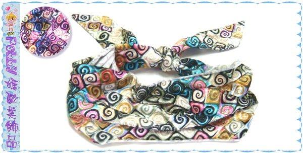 ☆POLLY媽☆ 燙金漩窩圖案絲絨手綁頭巾寬版髮帶~2色系
