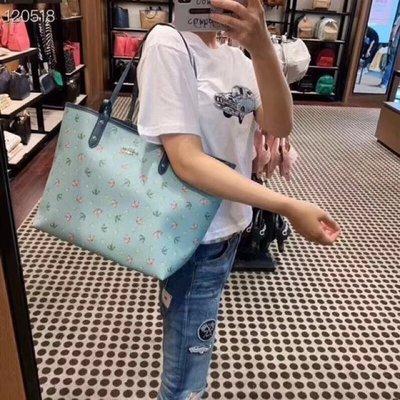 留學生like購 COACH 72714 新款女士購物袋 雨傘印花圖案單肩包 子母包 雙面可用 大容量 超實用 附購證