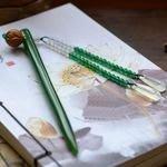 【玉髮簪-碧玉髮簪荷花步搖-頭寬8.5-9.7-杆長165-170mm-1支/組】手工雕刻翠綠簪子(含禮盒)-30104