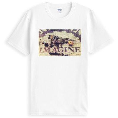 Imagine John短袖T恤-白色 約翰藍儂紐約中央公園紀念相片照片披頭四Beatles gildan 390