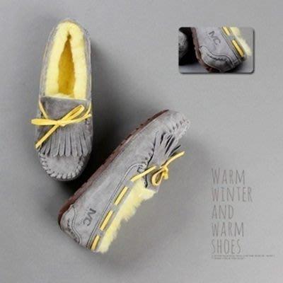 豆豆鞋羊毛絨平底鞋-休閒鞋可愛流蘇雪靴保暖真皮女鞋子9色72o11[獨家進口][米蘭精品]