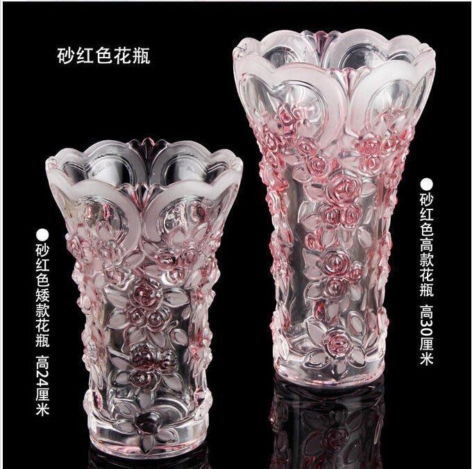 【優上精品】水晶玻璃琉璃花瓶臺面玫瑰花瓶客廳花瓶婚慶用品擺件相印花瓶(Z-P3214)