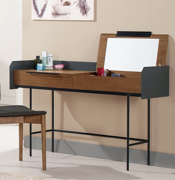 【DH】貨號G507-3商品名稱《德納唐》4尺胡桃化妝台。不含椅。可掀式當鏡台。可收合當書桌˙主要地區免運