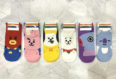韓國直送 超可愛宇宙明星BT21造型女襪子 防彈少年團 時尚 正韓 短襪 腳踝造型襪 運動襪 學生襪 棉襪