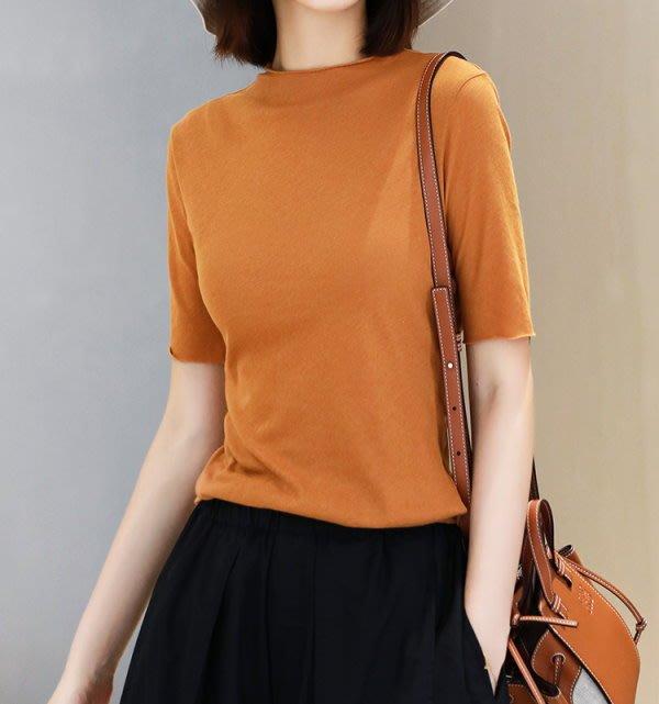 歐單 2020新款 乾爽舒適薄款 合體修身 不規則下擺 高支純棉 卷邊五分袖T恤上衣 兩色 (K1013)