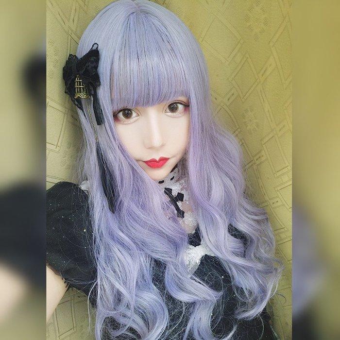 半島鐵盒 紫色假發女長卷發lolita精靈大波浪軟妹原宿森系空氣薄劉海整頂套