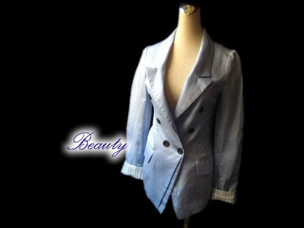 *Beauty*Dotori水藍色雙排釦西裝外套 薄款  PH