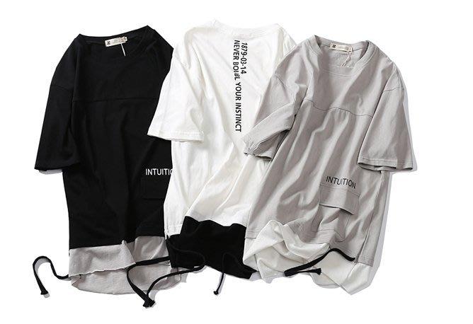 新款夏季短袖T卹韓版圓領寬鬆下擺口袋港式簡約青年潮上衣寬鬆假兩件