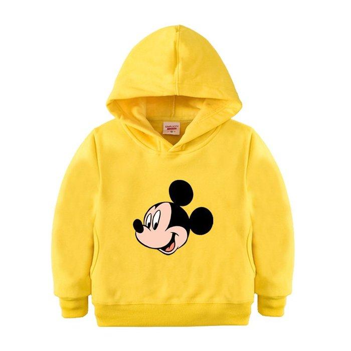 【童裝】韓版兒童黃色帽衫 米奇童裝 米老鼠男童秋冬外套 女加絨上衣 寶寶百搭衛衣