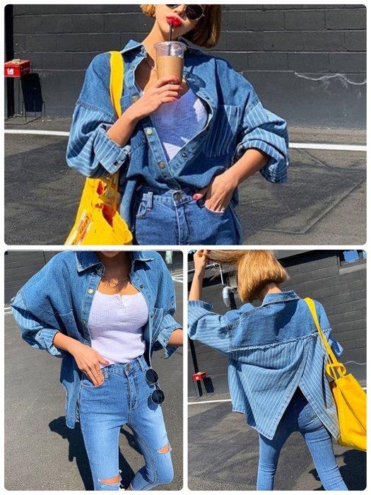 美麗喵。現貨。正韓 韓國製 前雙口袋 金屬排扣 後開叉設計 條紋牛仔襯衫