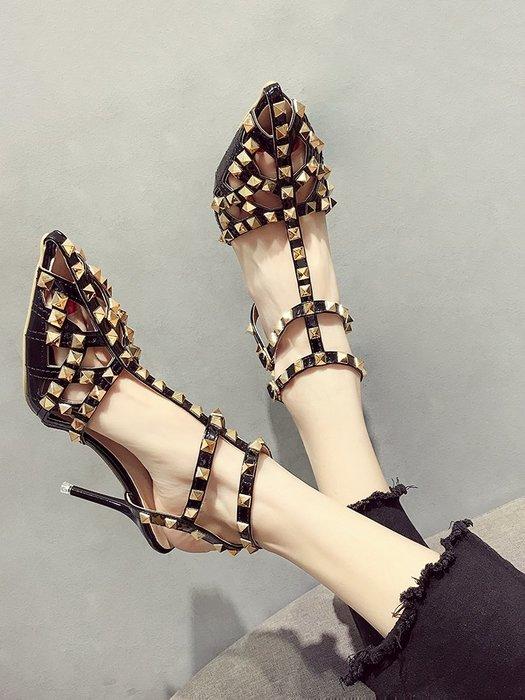 小尤家~高跟鞋女仙女風夏季新款細跟尖頭鏤空涼鞋韓版百搭鉚釘羅馬鞋