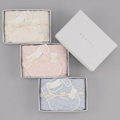 FZB 013 預購 KONTEX 日本製 彌月禮盒 粉嫩色系點點 大毛巾 約58×130cm 圍兜