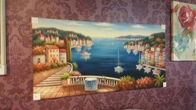 地中海海景木框畫
