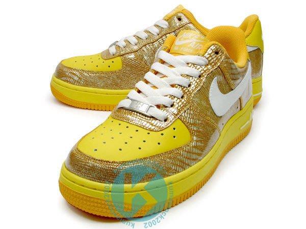 最終販售 09年 NSW Nike Wmns Air Force 1 07 黃色 亮面蛇紋 女鞋 $1999含宅配運費
