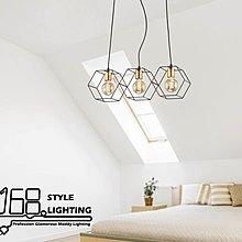 【168 Lighting】多角格線《工業吊燈》(兩款)3燈GD 20251-1