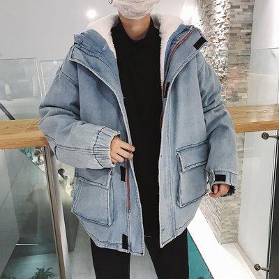 【柒姐姐】韓版學生加絨加厚工裝連帽牛仔外套男港風時髦青少年寬松保暖棉衣
