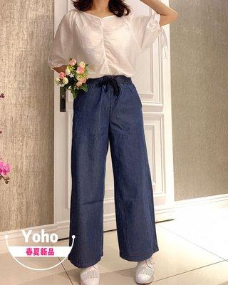 現貨牛仔棉寬褲 (GDJ7297) 輕薄透氣百搭款鬆緊帶寬褲 闊腿褲 九分褲 S-2XL