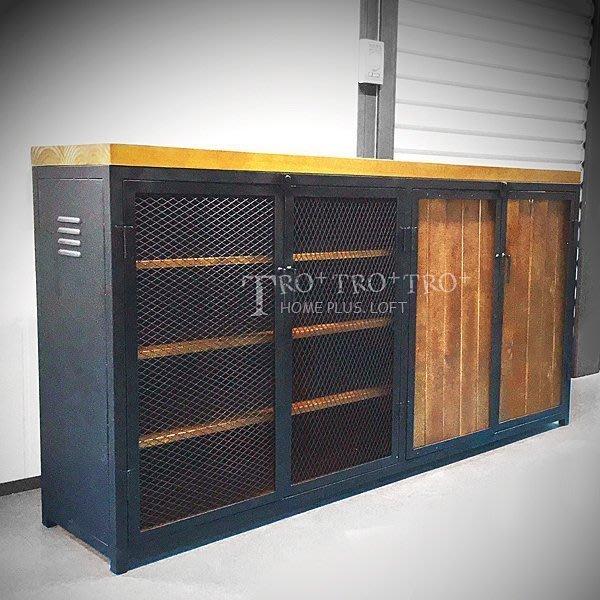 【拓家工業風家具】可訂製-鐵網實木多層收納櫃/美式復古置物櫃/鐵製斗櫃展示櫃LOFT餐櫃電視櫃鞋櫃書櫃