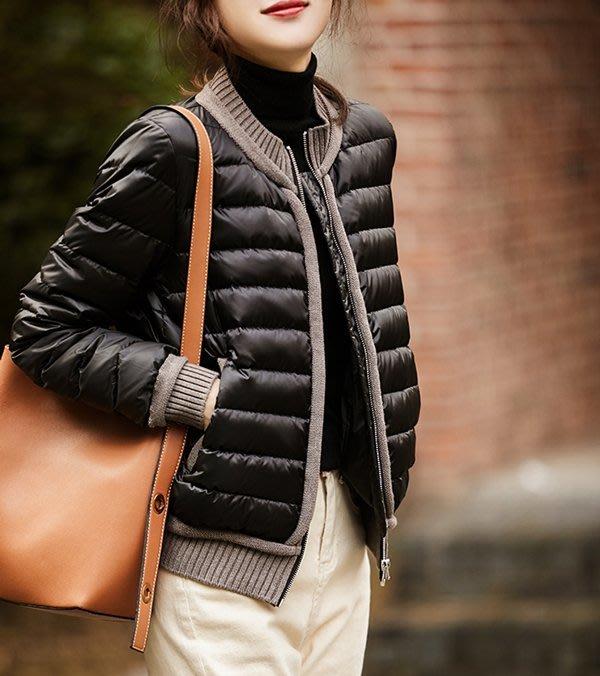 歐單 2020新款 中性帥氣 輕柔保暖 95% 白鵝絨 俐落短版 針織小立領棒球羽絨外套 (G1092)
