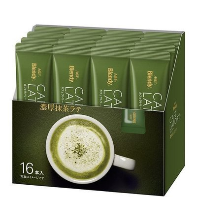日本AGF CAFE LATORY 濃厚抹茶拿鐵(含糖)隨身包 (12g×16本)/盒 抹茶歐蕾 AGF抹茶拿鐵