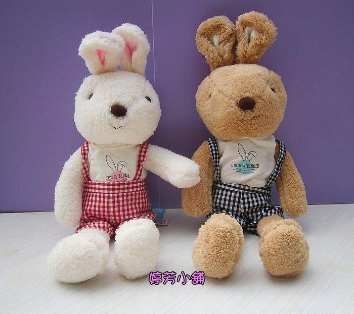 婷芳小舖~法國兔~歡樂兔玩偶~高55公分~兔子玩偶 吊帶褲款 歡樂兔娃娃~兔子娃娃~生日情人送禮~全省配送
