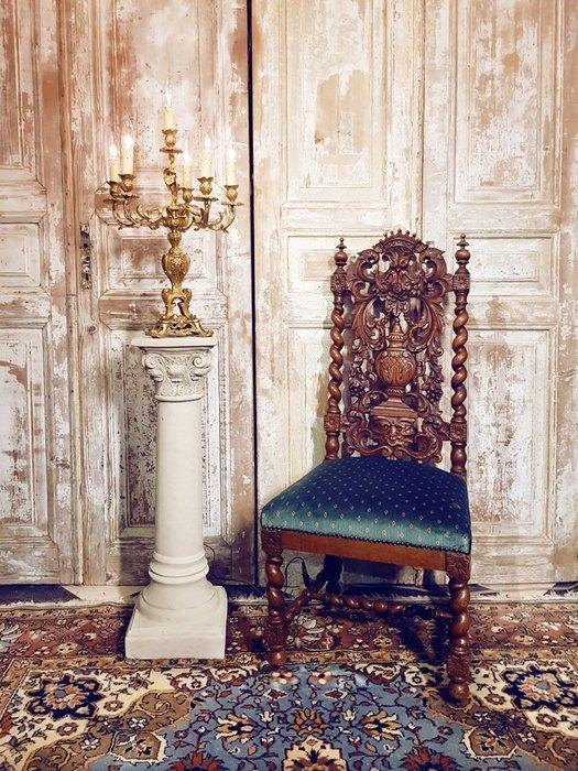 【拍賣師古董市集】歐洲古董1900年代法國文藝復興木雕椅