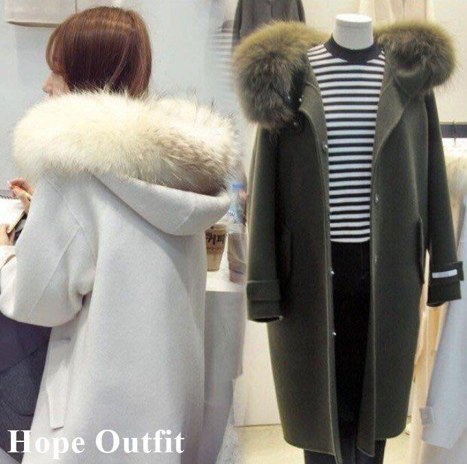 實拍影片!韓國 東大門 氣質大毛領中長版外套 羊毛外套 連帽大衣 正韓大衣 韓國外套 毛呢外套