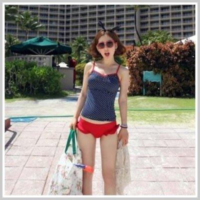 特價☆雙兒網☆【O815】韓國水玉點點荷葉邊小褲兩件式泳衣