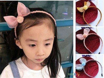 Yaya baby 童髮飾配件 韓版新款 兔耳朵球球 髮箍 頭箍 可愛簡約 棉麻布藝髮箍(個)