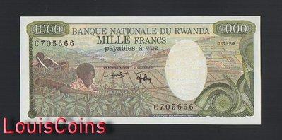 【Louis Coins】B1582-RWANDA-1978盧安達紙幣,1.000 Francs