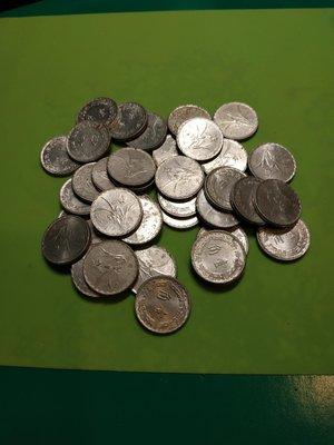 63年壹角鋁幣50個壹組一賣年份不同混合