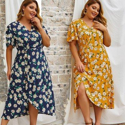 寶島小甜甜~plus size dress vintage women flower print dresses大碼肥婆裙