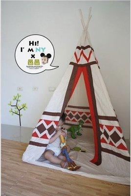 【 Mimi Rabbit 】印地安人四角椎玩具帳篷蒙古包 兒童摺疊遊戲屋支架款 印第安風格野餐【限時特惠 免運中】