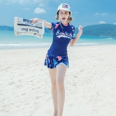【小阿霏】成人媽咪款 遮肚保守兩件式褲裙泳裝 一家四口親子家庭泳衣短袖南洋風情扶桑花泳裝 母女泳裝SW159