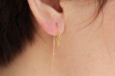 高檔首飾專櫃代購~足金 999黃金 小鑰匙耳線耳吊耳墜   文藝清新 是一只的價格