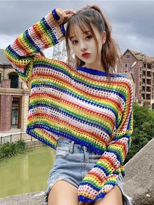 雪紡上衣  女裝韓版寬鬆慵懶風毛衣彩虹條紋鏤空長袖短款針織衫上衣