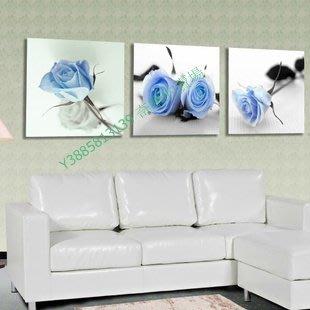 【60*60cm】【厚0.9cm】花卉藍色妖姬玫瑰-無框畫裝飾畫版畫客廳簡約家居餐廳【280101_049】(1套價格)